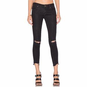 Free People Destroyed Ankle Skinny Jeans Black 24